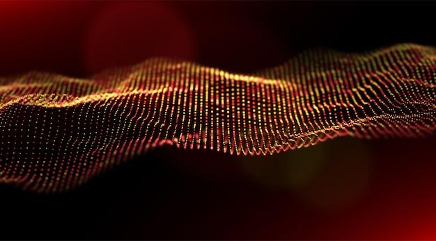 Abstrakter goldpartikelhintergrund musterpunktvisualisierung technologievektorillustration