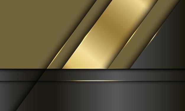 Abstrakter goldschwarzer metallischer überlappungsentwurf luxus moderner futuristischer hintergrund