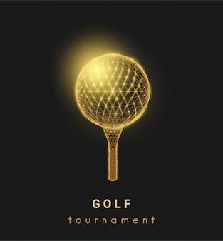 Abstrakter golfball. niedriges design im polygonalen stil.