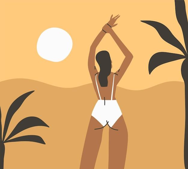 Abstrakter grafischer sommer, minimalistische illustrationen drucken mit schönen mädchen, die sich sonnen