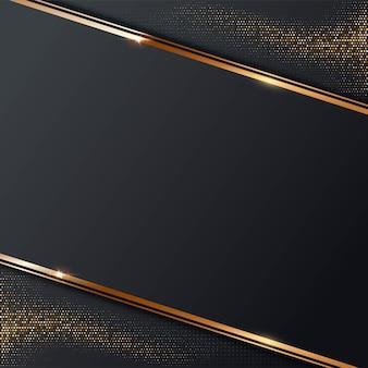 Abstrakter grauer hintergrund mit goldenem linienrahmen halbton funkelt glänzende punkte goldmosaikeffekt