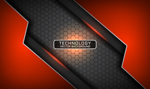 Abstrakter grauer und orange technologiehintergrund 3d, überlappungsschicht mit lichteffekt