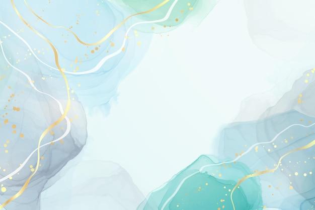 Abstrakter grauer und türkisfarbener flüssiger aquarellhintergrund mit goldenem glitter