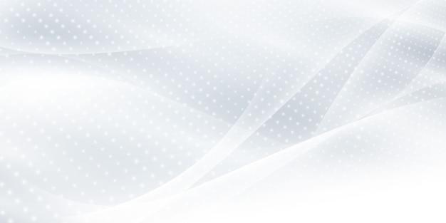 Abstrakter grauer weißer hintergrund mit dynamischen wellen. technologie