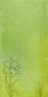 Abstrakter grüner aquarellfahnenbeschaffenheitshintergrund mit hand gezeichneten blumen