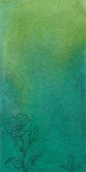 Abstrakter grüner aquarellfahnenhintergrund mit hand gezeichneten blumen