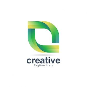 Abstrakter grüner buchstabe o logo vector template