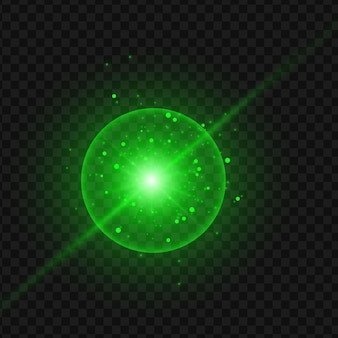 Abstrakter grüner laserstrahl. getrennt auf transparentem schwarzem hintergrund. vektorillustration, eps 10.