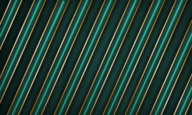 Abstrakter grüner luxus überlappt den hintergrund mit goldener linie und neonlichteffektdekoration