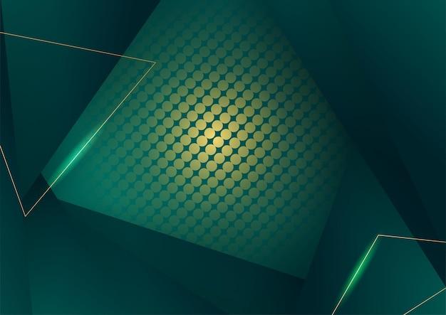 Abstrakter grüner luxushintergrund mit goldener linie auf dunkelheit. realistischer papierschnittstil 3d. vektorillustration für banner, poster, broschüren, präsentationshintergrund und vieles mehr