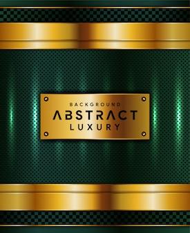 Abstrakter grüner luxushintergrund mit goldener linie formen
