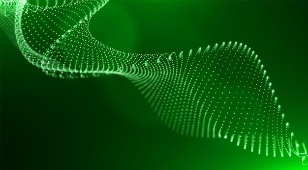 Abstrakter grüner partikelhintergrund digitale datenstruktur musterpunktvisualisierung