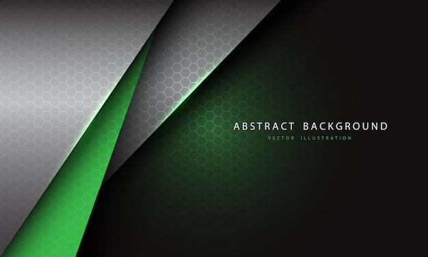 Abstrakter grüner silbergrauer metallischer dreiecküberlappungs-sechseck-netzentwurf futuristischer hintergrund.