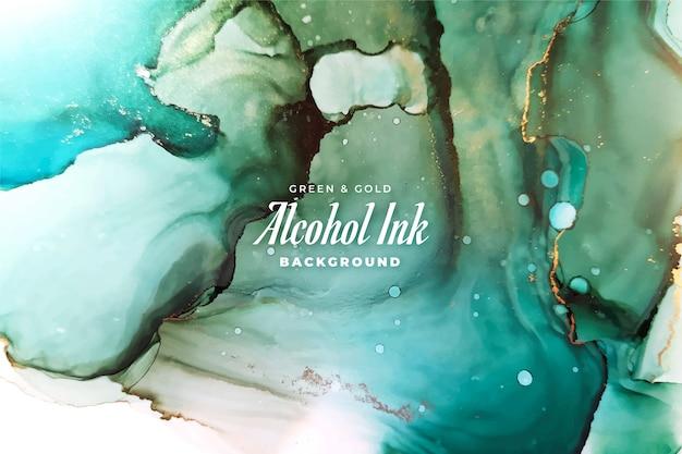 Abstrakter grüner und goldener alkoholtintenhintergrund