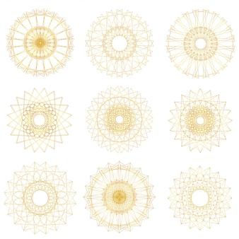 Abstrakter guilloche-elementsatz