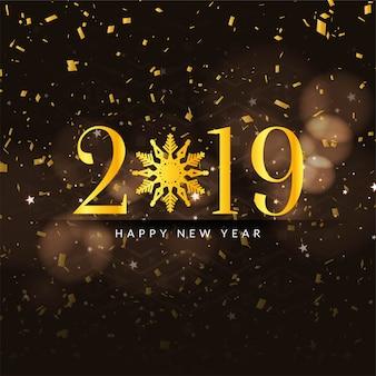 Abstrakter guten rutsch ins neue jahr-konfettihintergrund 2019