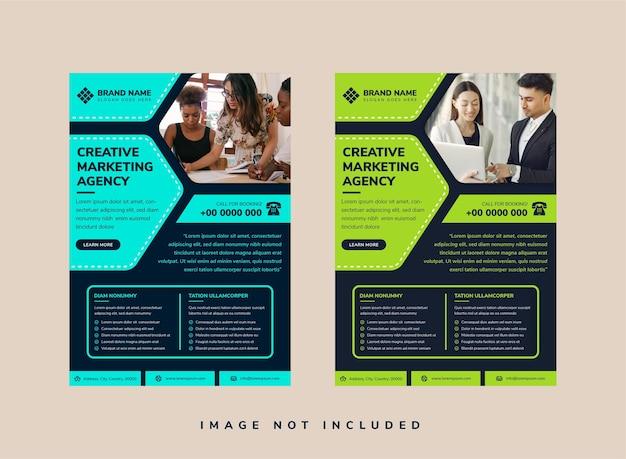 Abstrakter halber sechseckwürfel für fotoraum auf dunklem hintergrunddesign für unternehmensgeschäftsflieger kombiniert mit blauem und grünem element