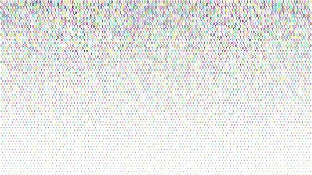 Abstrakter halbton-gradientenhintergrund aus kleinen einsen und nullen, farbig auf weiß