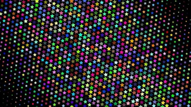 Abstrakter halbton-gradientenhintergrund von kleinen farbigen sternen auf schwarz