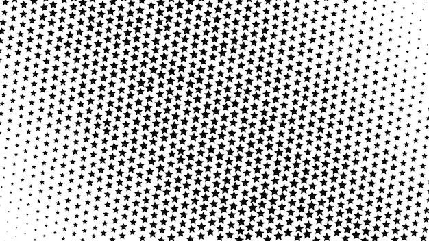 Abstrakter halbton-gradientenhintergrund von kleinen sternen in schwarz-weiß-farben