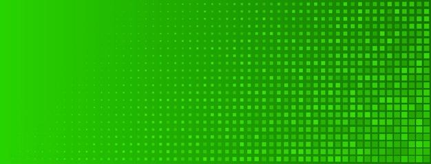 Abstrakter halbtonhintergrund aus kleinen quadratischen punkten unterschiedlicher größe in grünen farben