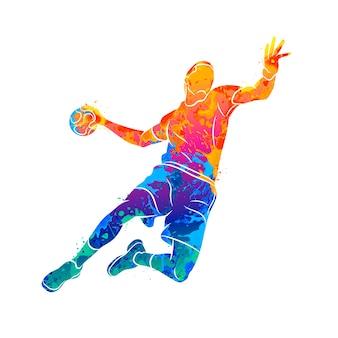 Abstrakter handballspieler, der mit dem ball vom spritzen der aquarelle springt. illustration von farben