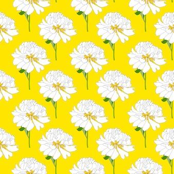Abstrakter handgezeichneter nahtloser musterhintergrund der pfingstrosenblume. illustration
