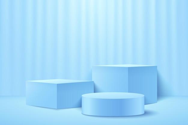 Abstrakter hellblauer würfel und runde anzeige für produkt. pastellfarbe der geometrischen form 3d 3d.