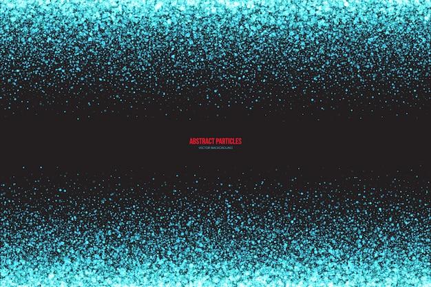 Abstrakter heller cyan-blauer schimmer, der ringsum fallenden partikelvektorhintergrund glüht