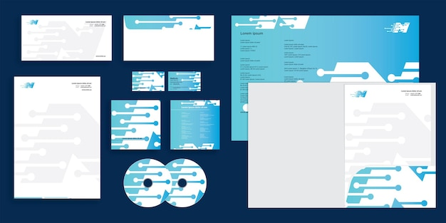 Abstrakter high-tech-unternehmensbrief n moderne corporate business identity stationär