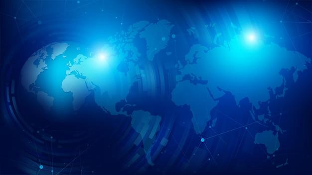 Abstrakter hintergrund 3d globuskugel und gepunktete weltkarte im futuristischen stil