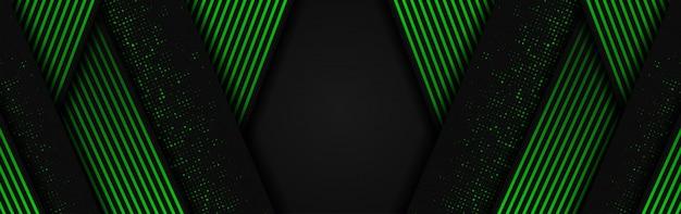 Abstrakter hintergrund 3d mit den grünen und dunkelgrauen papierschichten