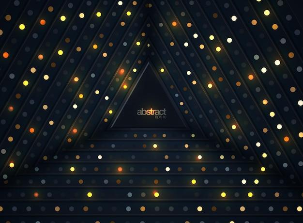 Abstrakter hintergrund 3d mit einer kombination von leuchtenden goldpunkten in der art 3d