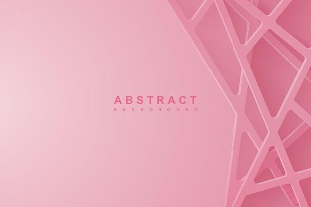 Abstrakter hintergrund 3d mit rosa papierschnitt. abstrakte realistische papierschnittdekoration strukturiert