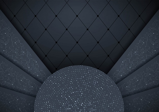 Abstrakter hintergrund 3d mit schwarzen papierschichten grafikdesignelement