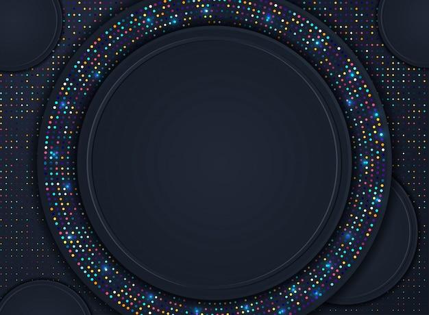 Abstrakter hintergrund 3d mit schwarzen papierschichten. vektor geometrische darstellung