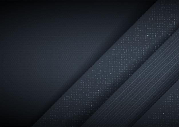 Abstrakter hintergrund 3d mit schwarzen papierschichten