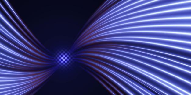 Abstrakter hintergrund aus abstrakten neonlinien geschwindigkeitstechnologie hintergrund designkonzept von digital