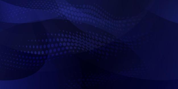 Abstrakter hintergrund aus halbtonpunkten und geschwungenen linien in dunkelblauen farben