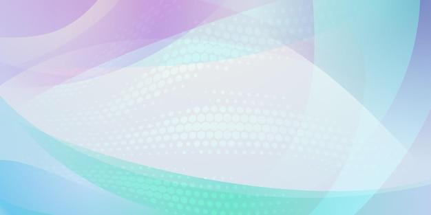 Abstrakter hintergrund aus halbtonpunkten und geschwungenen linien in hellblauen, weißen und violetten farben
