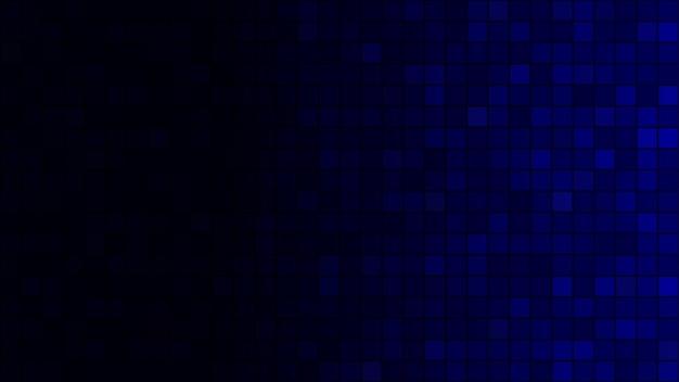 Abstrakter hintergrund aus kleinen quadraten in dunkelblauen farben mit horizontalem farbverlauf