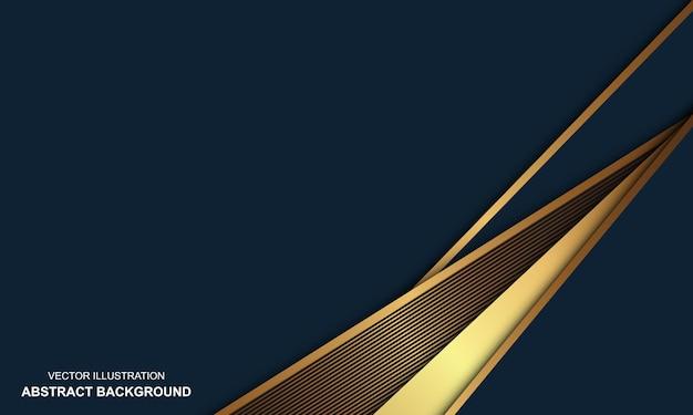 Abstrakter hintergrund blau dop mit goldenen linien modernes design