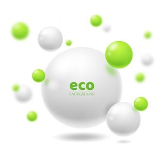 Abstrakter hintergrund der 3d sphären der ökologie oder des öko
