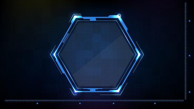 Abstrakter hintergrund der blau leuchtenden sechseckstern-technologie sci-fi-rahmen hud ui