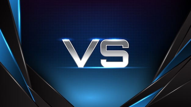 Abstrakter hintergrund der blauen futuristischen technologie, die blaue und schwarze bewegungslinie und versus battle text leuchtet