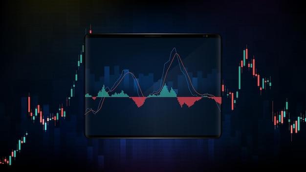 Abstrakter hintergrund der blauen futuristischen technologie-handelsbörse auf intelligentem tablet