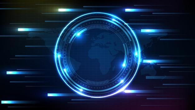 Abstrakter hintergrund der blauen futuristischen technologie-hud-anzeige-schnittstelle