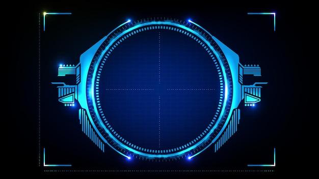 Abstrakter hintergrund der blauen futuristischen technologie-hud-anzeigeschnittstelle