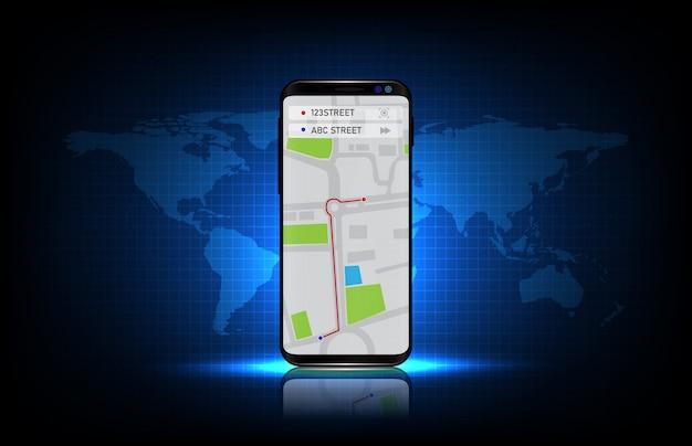 Abstrakter hintergrund der blauen futuristischen technologie navigation gps-kartenanwendung auf smartphone