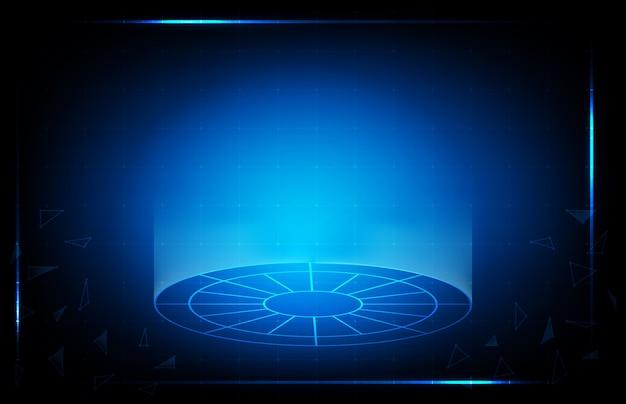 Abstrakter hintergrund der blauen technologie hud ui anzeige